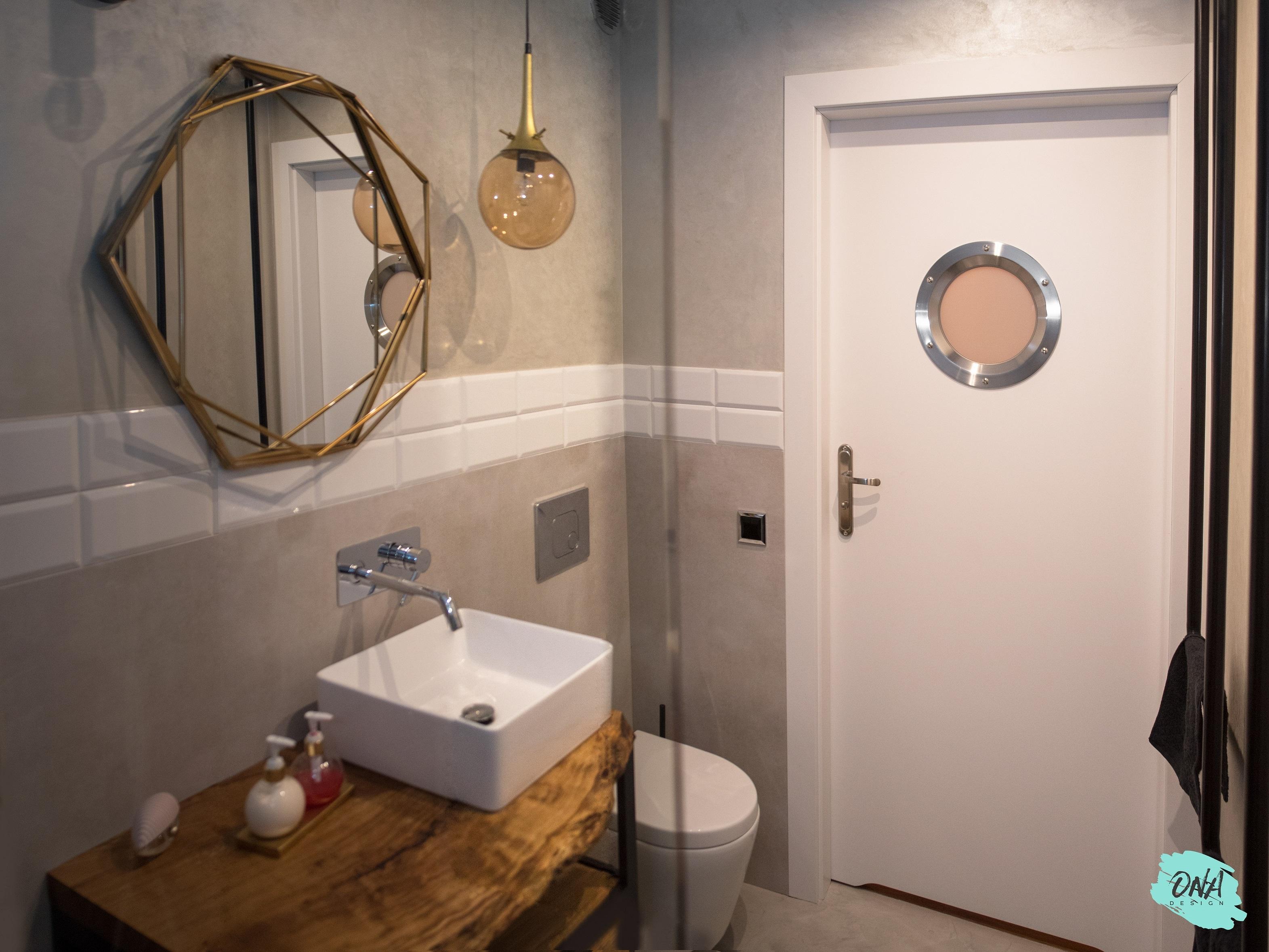 Mieszanka Styli łazienka Drewno Beton Onadesign