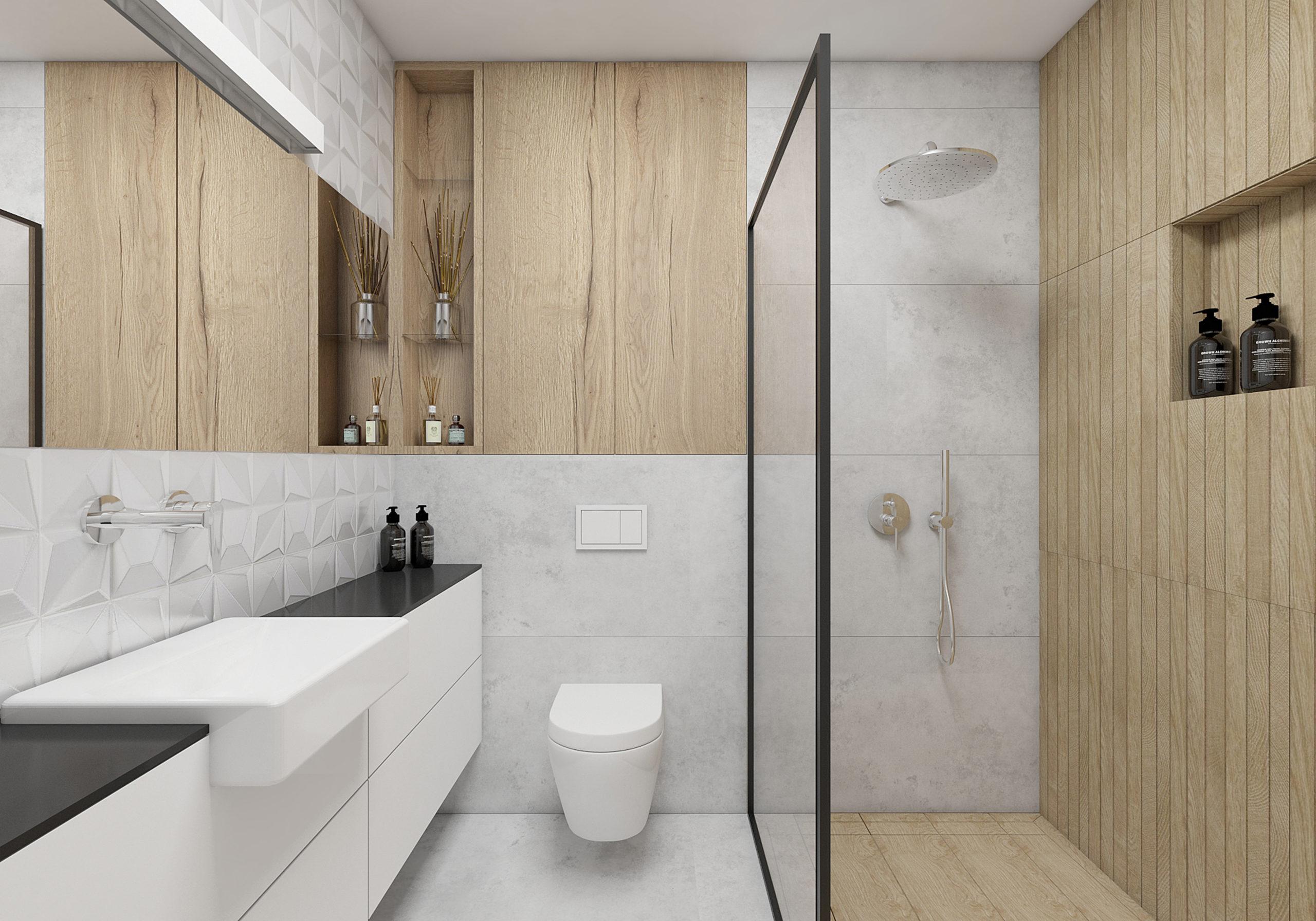 mała łazienka w szarościach bieli i drewnie