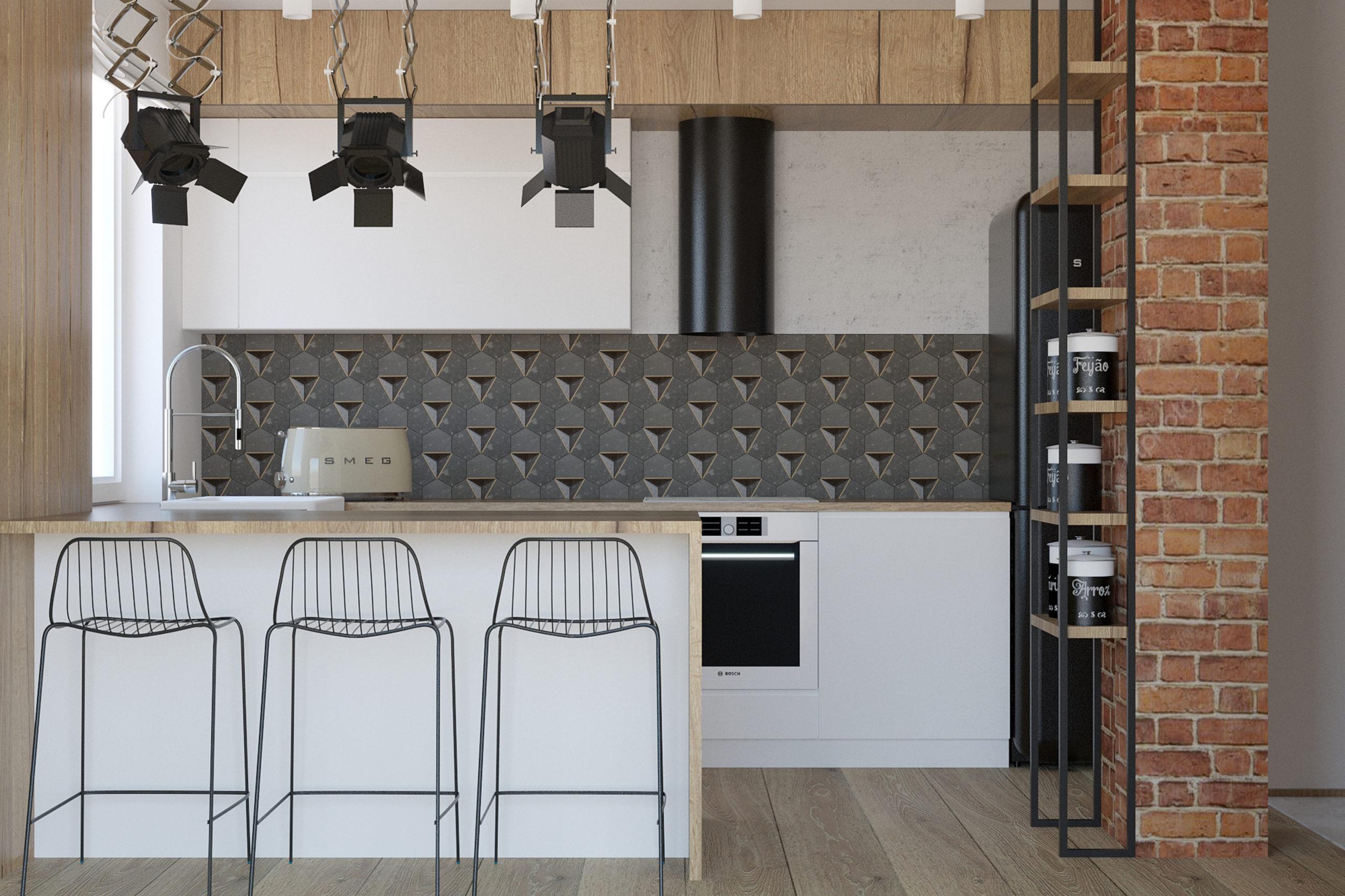 kuchnia otwarta na salon w stylu nowoczesnym z nutą loft