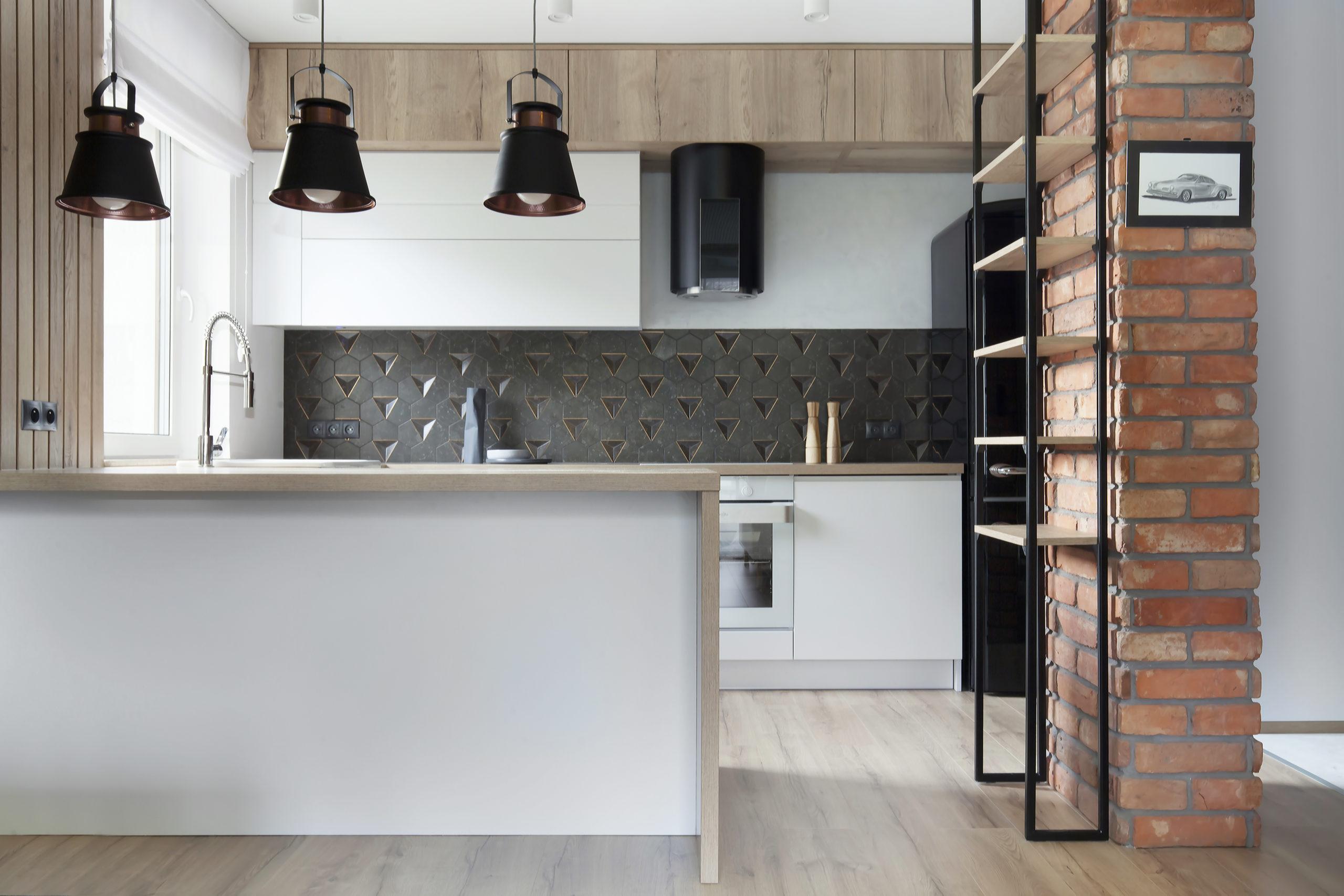kuchnia w stylu nowoczesnym z elementami loft