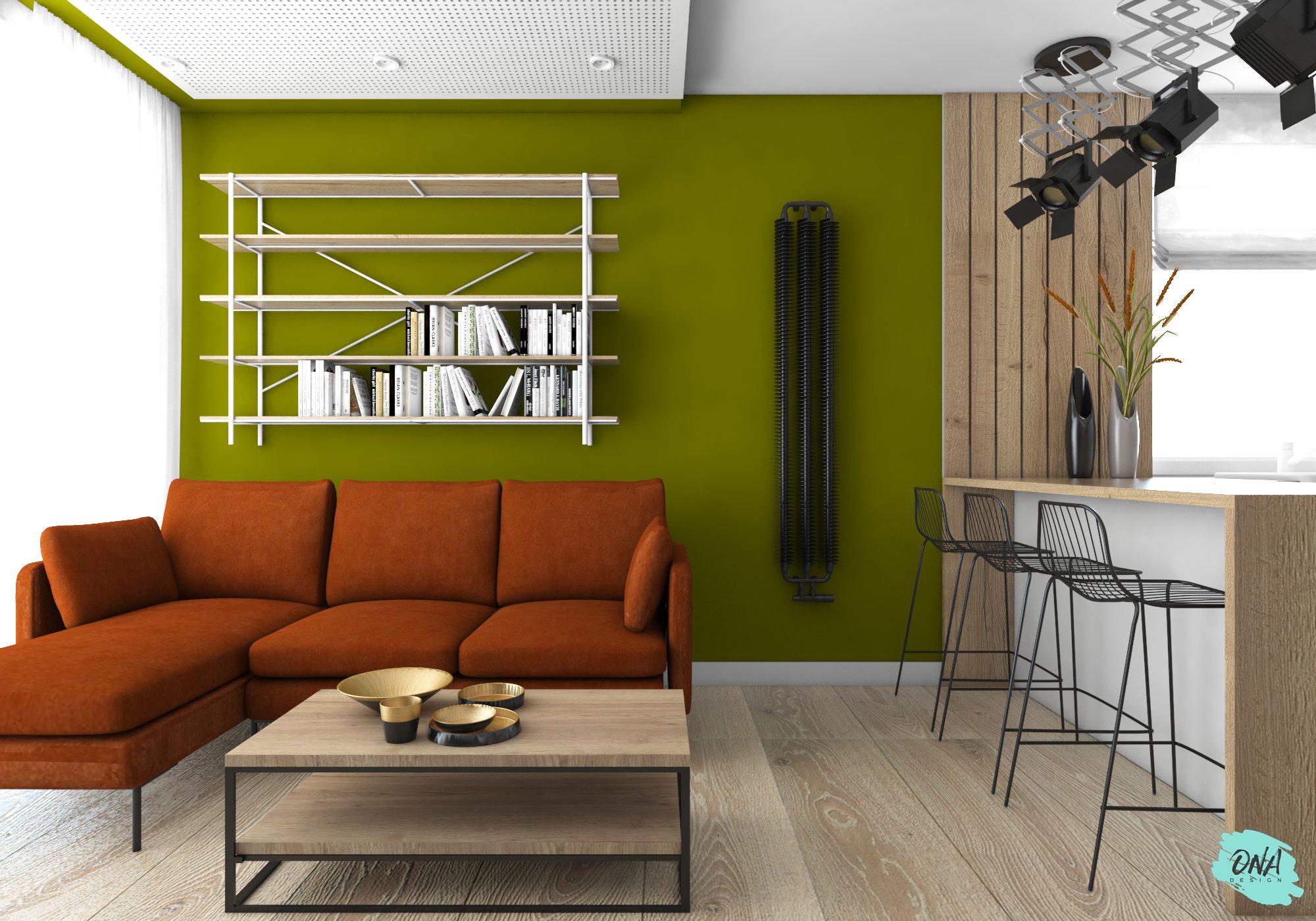 salon w stylu nowoczesnym z elementami loft