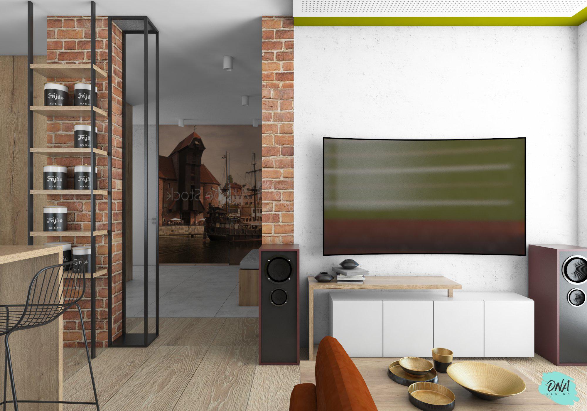 salon w stylu nowoczesnym z betonem i cegłą na ścianie