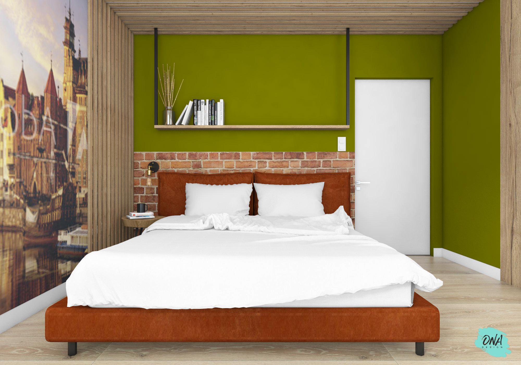 duża sypialnia w stylu nowoczesnym z cegła i fototapetą