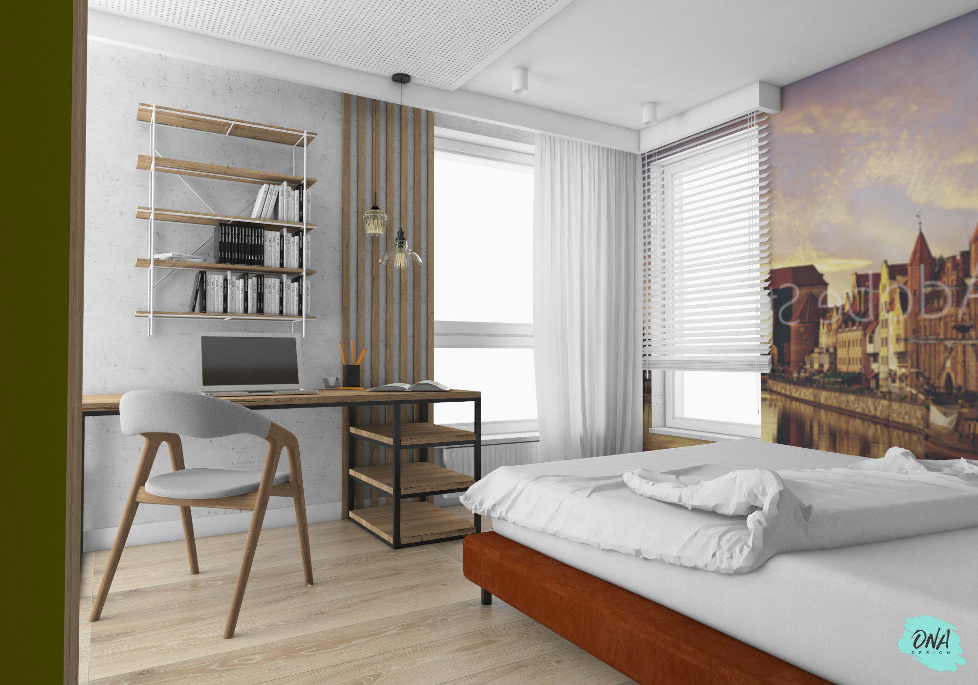 miejsce do pracy w nowoczesnej sypialni