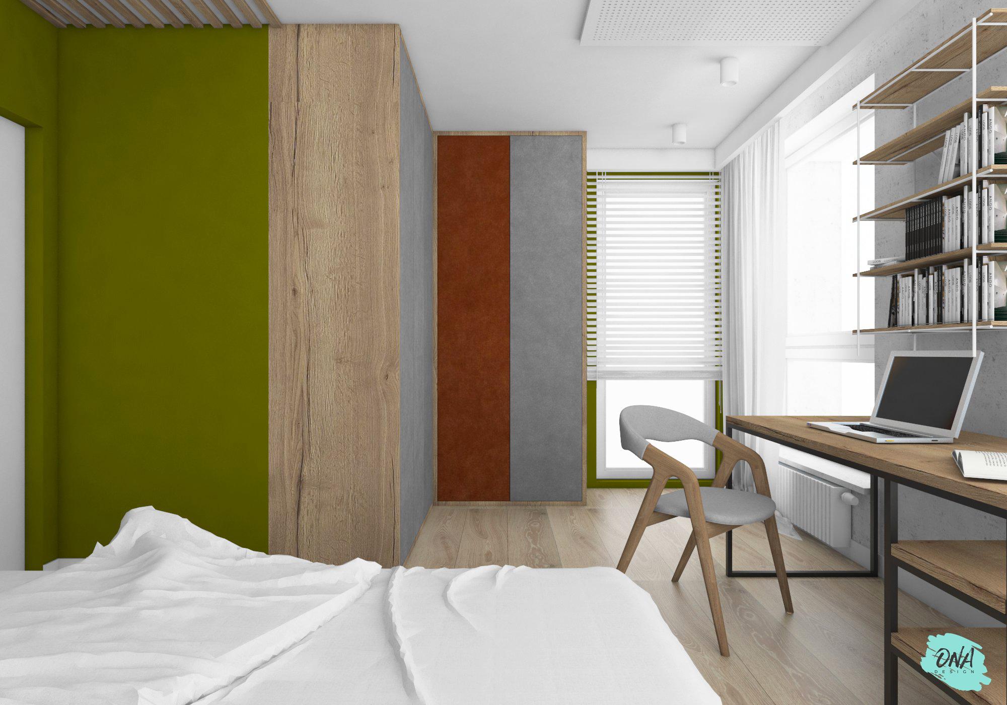 garderoba i biurko w nowoczesnej sypialni